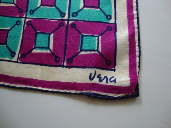 RESERVED Vera Neumann magenta turquoise squares, vintage scarf neckerchief, February Amethyst Birthstone