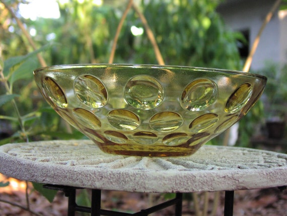 Vintage amber brown pressed bubble glass candy dish or bowl, mint condition with optic dots pattern, 1960's retro home decor by Continental Can Co CCC, beautiful large serving bowl, vintage entertaining summer garden party style