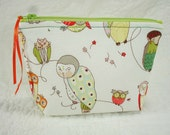 Back To School - Zippered Pouch - Cosmetic Bag - Tech Accessories Bag - Spotted Owls - Alexander Henry