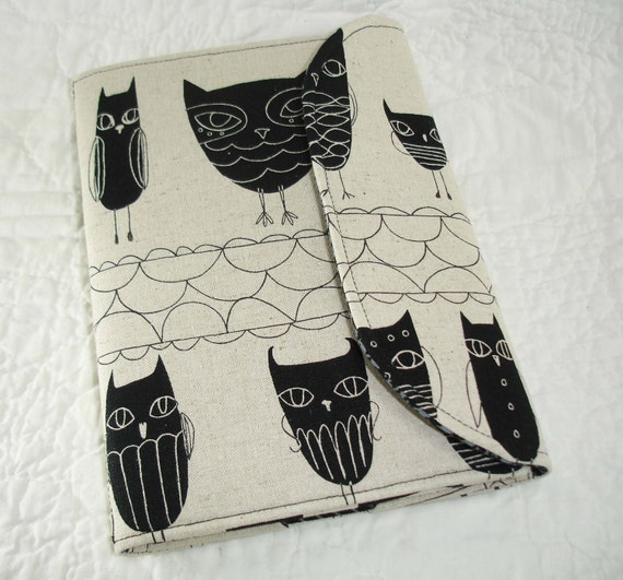 iPad Mini, Kindle Fire Cover, Kindle Cover, Nook Cover, Kobo Cover, eReader Cover, Book Style, Japanese Owls on Linen
