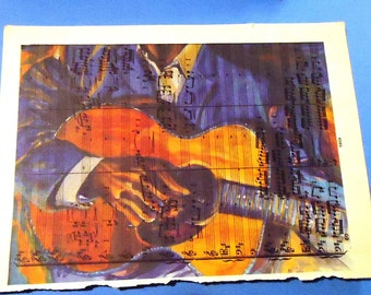 Handmade Art Blues Man Print on Recyled Paper