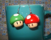 Red and Green Mushroom earrings