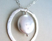 Stephenie Necklace - fine silver, coin pearl, sterling silver