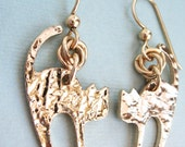 Murray Earrings - gold filled ear wires, gold filled jump rings, 14K gold plated cat charms