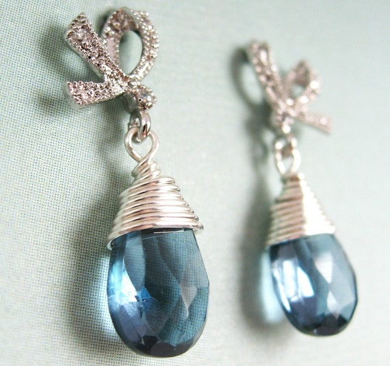 Alice Earrings - London blue topaz, white gold plated small bow ear posts, sterling silver wire