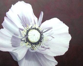 Poppy Painting - Purple & White Poppy Flower Original Art - Made to Order