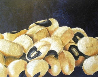 Large Abstract Painting - Black Eyed Peas String Art Beans Mixed Media Original Framed Artwork