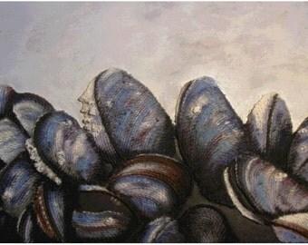 Shell Wall Art - Mussels String Art Seashell Nautical Art Beach Decor Mixed Media Abstract Art Wall Hanging