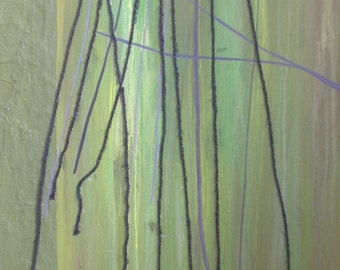 Abstract Trees Painting - Green Mixed Media Original String Art on Wood
