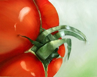 Tomato Painting - 3D Textured Fabric Stalk Original on Canvas Kitchen Picture
