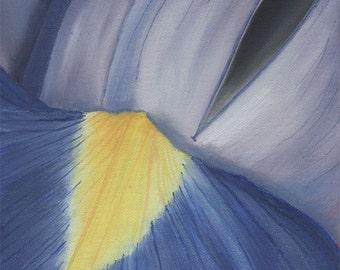 Iris Flower Painting - Original Acrylic Floral Botanical Painting Purple Yellow Wall Art