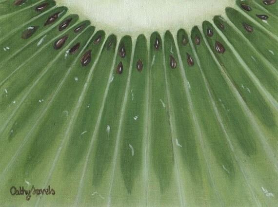 Kiwi Painting - Original Acrylic Painting Kiwi Slice Green Kitchen Picture
