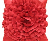 DIY Kit - Wool Felt Rosette Pillow Cover - Your Choice of Color