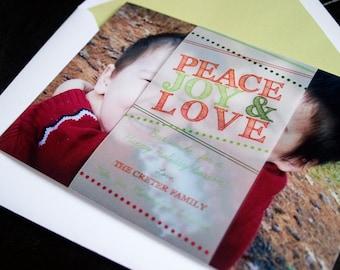 Peace, Joy & Love - Holiday Keepsake Photo Card