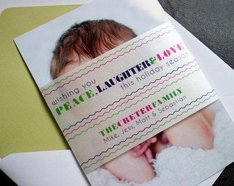 Peace, Laughter and Love - Keepsake Holiday Photo Card