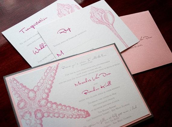 Starfish Wedding Invitation Kit: Starfish Wedding Invitation Sample Miami Beach