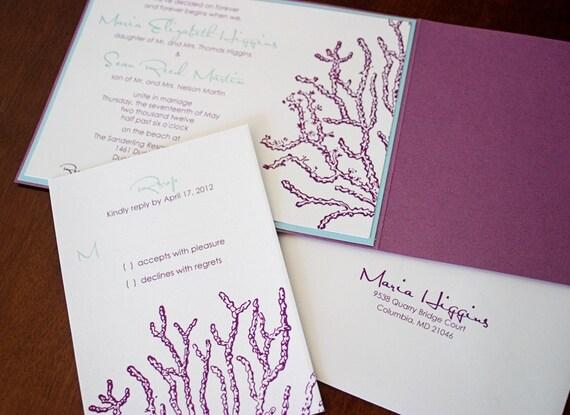 "Coral Wedding Invitation Sample - ""Key Largo"""