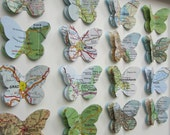 The Places We've been - 16 Butterfly Custom Example - Vintage Map Butterfly Art