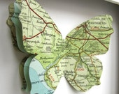 Where I Love You - Custom Vintage Map Butterfly Art