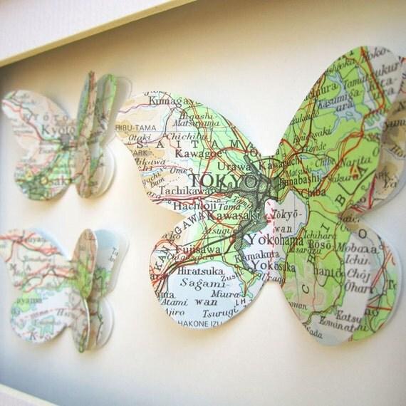 The Places we've Been - 3 Butterflies. Custom Vintage Map Art