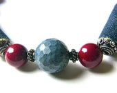Blue Necklace,  Chunky Red Pearl Necklace, Reclaimed Denim