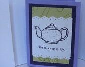 Tea Lover's Card Handmade Whimical Artisan