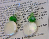 White Coin Pearl Earrings with Green Swarovski Crystals Gift for Her Under 20