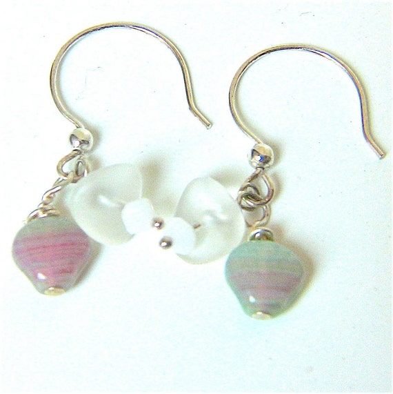 Sea Shell Earrings with White Swarovski Crystals and Sea Glass, Great Nautical Look