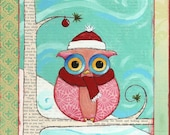 Winter Owl Art Print - Cozy Pink Owl - Cute Christmas Decor - Mixed Media Art Print - Santa Owl with Aqua & Red - Handmade Gifts Under 20