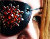 Red and Black Leather Eyepatch-Rhinestone Steampunk Airship Pirate Eyewear Valentines Gifts Under 30