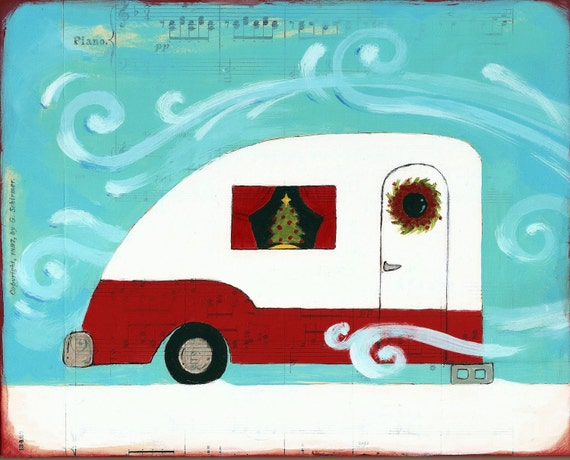 Christmas Decor-Art Print-Home for the Holidays-Red and Turquoise-Retro Camper-Under 10