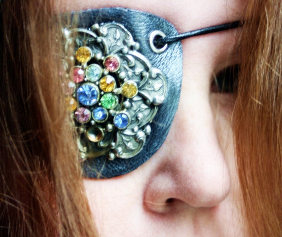 Victorian Rhinestone and Pewter Leather Eyepatch- Steampunk Airship Pirate Patch OOAK