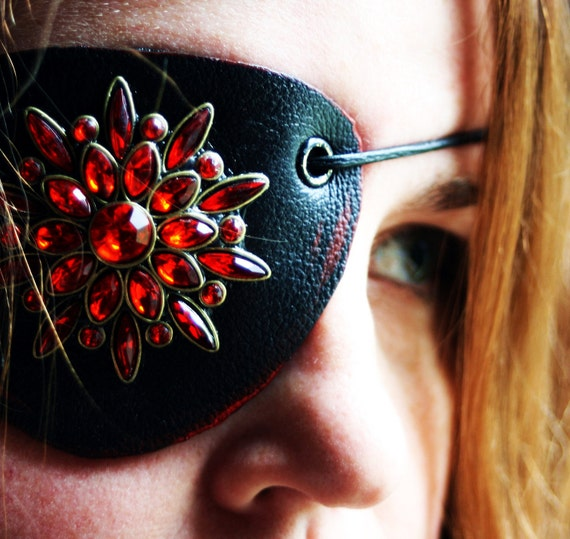 Red and Black Leather Eyepatch-Rhinestone Steampunk Airship Pirate Eyewear Valentines Gifts Under 30