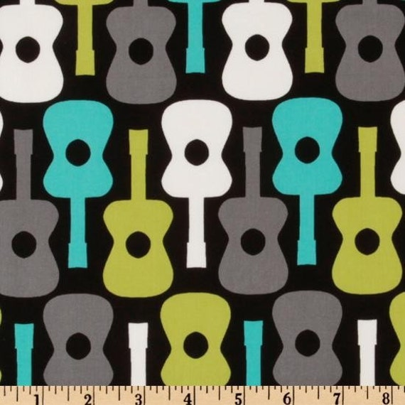Lagoon Groovy Guitar Cotton Quilting Fabric by Michael Miller - 14 Inches