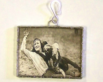 Cowgirl Rodeo Jewelry Glass Pendant Soldered Bull Dogging Western