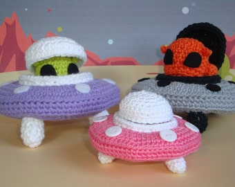 UFO with Alien PDF Crochet Pattern