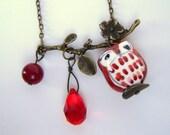 Brown/Red Owl Necklace. Porcelain Owl on Antiqued Brass Branch