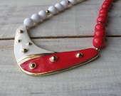 1980's Red and White Plastic Bead & Enamel Necklace