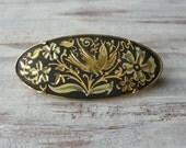 Vintage Hummingbird and Floral Design Oval Brooch