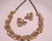 Vintage Signed by Art Shamrock Demi Parure Necklace and Earrings. J146