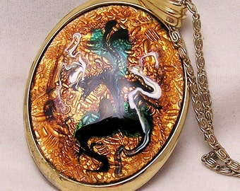 Vintage Enamel Necklace Signed Ges.Gesch. and AH. Mid Century Look. J64