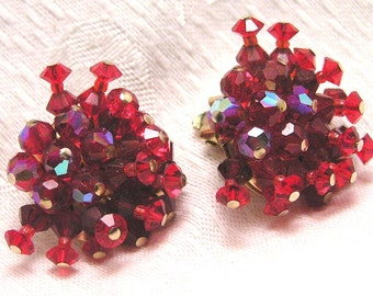 Vintage Red Aurora Borealis Earrings. J141