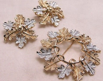 Sarah Coventry Garland Brooch and Earring Set. C1