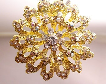 Vintage Textured Gold Metal Rhinestone Brooch. J22