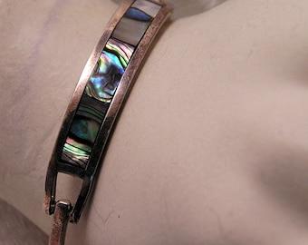 Vintage Silver Abalone Inlay Hinged Bracelet. J81