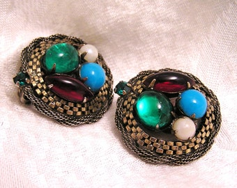 Vintage Fruit Salad Signed Carnegie Earrings. J118