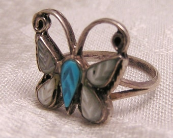 Vintage Silver Turquoise and MOP Butterfly Ring. J136
