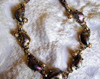 Vintage Iridescent Necklace Unbelievable Colors of Fuchsia,Teal, Purple, Carnival Glass. J94