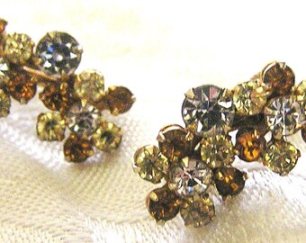 Vintage Screwback Rhinestone Earrings J33