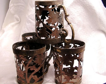 Vintage Copper and Brass Open Metal Work Cups with Leaf Design